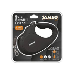 Guia Retratil Jambo Friend Pequena Preta