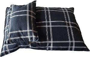 Cama para Pet Confort com Travesseiro Grande Preto Xadrez