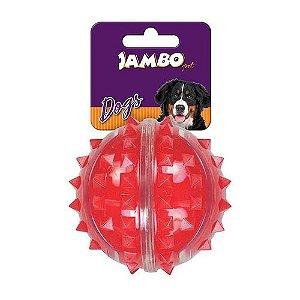 Bola Dura para Cachorro com Espinho Vermelha Jambo Pet Média