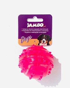 Bola Dura para Cachorro com Espinho Rosa Jambo Pet Pequeno
