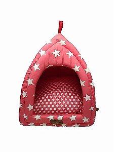 Cabana Cama 2 em 1 Para Pet Modelo Star Rosa Fabrica Pet