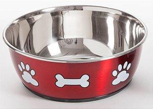 Comedouro Vermelho Metálico de Inox Jambo Pet Tamanho 3