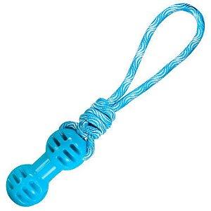 Brinquedo mordedor de cachorro TPR Rope Dumbbel Azul Jambo