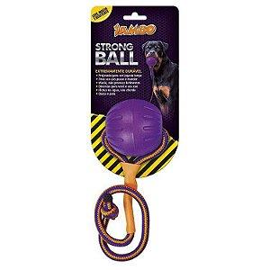 Brinquedo de Cachorro Bola com Corda Strong Ball Peq Roxa