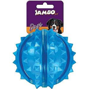 Bola Dura para Cachorro com Espinho Azul Jambo Pet Grande