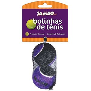 Brinquedo cachorro Bola de Tênis Sonora Media c/2un Jambo