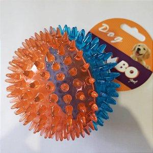 Brinquedo de Cachorro Bola Espinho c/ som Média Azul Laranja