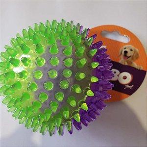 Brinquedo de Cachorro Bola Espinho c/ som Média Roxo Verde