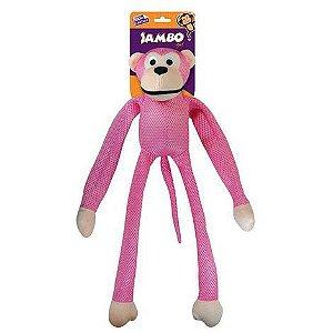 Brinquedo Mordedor Pelúcia Macaco Mesh Grande Rosa Para Cães