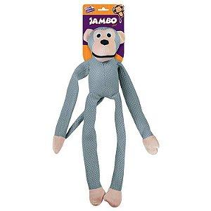 Brinquedo Mordedor Pelúcia Macaco Mesh Grande Prata p/ Cães