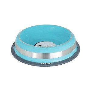Comedouro Inox com Anel Silicone Prestige Azul M 475ml