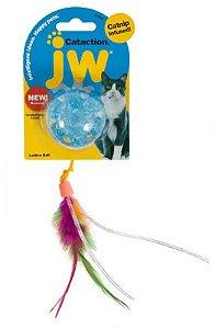 Brinquedo de Gato Bola com Pena Catinip Lattice Ball Azul
