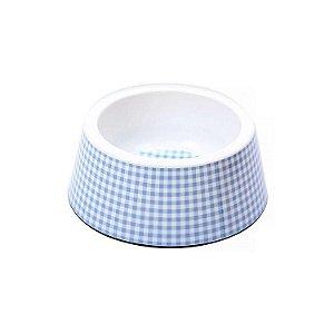 Tigela Comedouro para cachorro Vichy Azul 250ml JamboPet