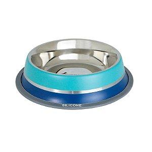 Comedouro Inox com Anel Silicone GermanHart Dual Azul 950ml
