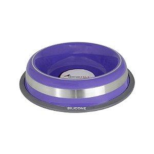 Comedouro Inox com Anel Silicone Prestige Roxo M 475ml
