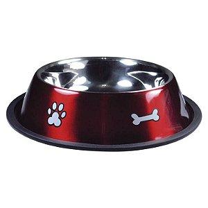 Comedouro de Cachorro Inox Print Vermelho Médio 700ml Jambo