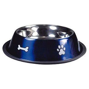 Comedouro de Cachorro Inox Print Azul Médio 700ml Jambo Pet