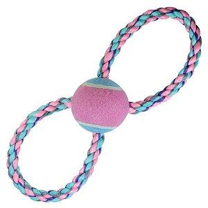 Brinquedo de cachorro Corda em 8 com Bola Tênis Pastel Jambo