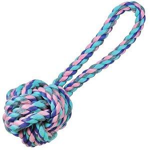 Brinquedo de Cachorro Bola de corda com Alça Pequena Pastel