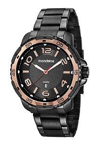 Relógio Mondaine Masculino Rosé Preto