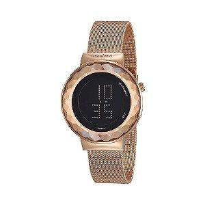 Relógio Digital Mondaine Malha de Aço Rosé