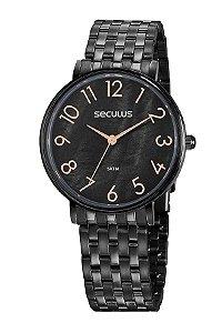 Relógio Seculus Casual Preto
