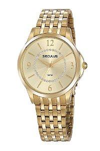 Relógio Seculus Cristais Dourado