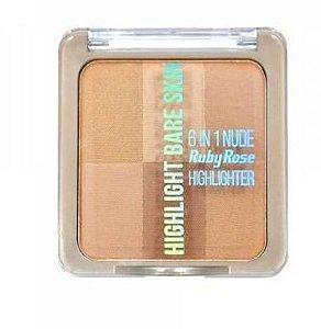 Pó Iluminador Highlight Bare Skin 6 em1 Ruby Rose HB-7214 Cor 1