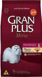 Ração Gran Plus Menu para Cães Adultos Mini sabor Frango e Arroz