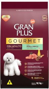 Gran Plus Gourmet Cão Adulto Mini Sabor Peru e Arroz