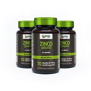 Kit 3x Zinco Quelato - 70 cápsulas