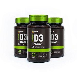 Kit 3x Vitamina D3 - 70 cápsulas