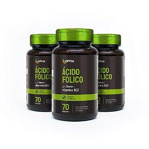 Kit 3x Ácido Fólico, Ferro e Vitamina B12 - 70 cápsulas