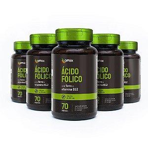 Kit 5x Ácido Fólico, Ferro e Vitamina B12 - 70 cápsulas
