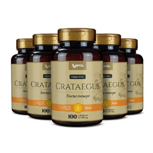 Kit 5x Crataegus (Shan Zha) - 100 cápsulas