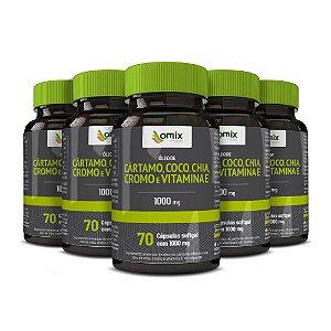 Kit 5x Óleo de Cártamo, Coco, Chia, Cromo e Vitamina E - 70 cápsulas