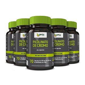 Kit 5x Picolinato de Cromo - 70 cápsulas