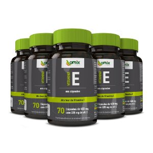 Kit 5x Vitamina E - 70 cápsulas