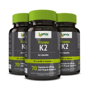 Kit 3x Vitamina K2 - MK7 - 70 cápsulas
