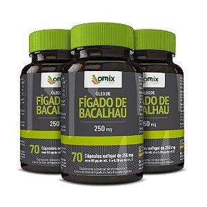 Kit 3x Óleo de Fígado de Bacalhau (250 mg) - 70 cápsulas