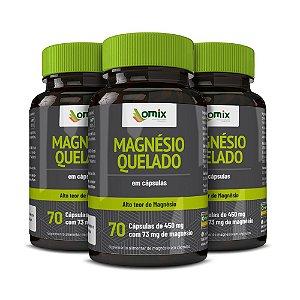Kit 3x Magnésio Quelado - 70 cápsulas