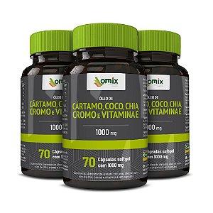 Kit 3x Óleo de Cártamo, Coco, Chia, Cromo e Vitamina E - 70 cápsulas