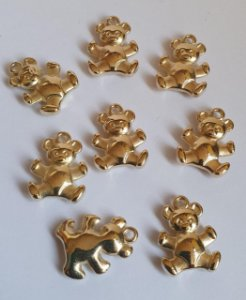 Pingente Ursinho -  ABS - Dourado - 17x13mm - *Embalagem com 10 unidades*