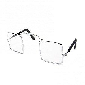 Óculos pet quadrado- Armação metal (cor níquel)  e lente acrílica - 8cm