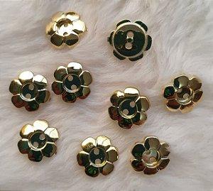 Botão plástico FLOR - Dourada ou prateada - tamanho P (12mm) e G (15mm) - pacote com 10 botões