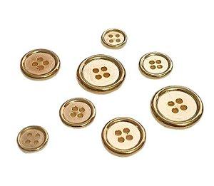 Botão 4 furos - ABS - dourado - ref. 20059 - Tamanhos: 12, 15, 18 e 21mm - *Embalagem com 10 unidades*
