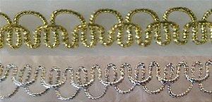 Passamanaria Dourada ou Prateada - 10 mm - REF: 1208 - (Venda por metro)