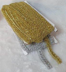 Passamanaria Dourada ou Prateada - 10 mm - REF: 1267 - (Venda por metro)