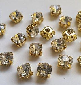 Strass de Costura - Ponto de Luz - 5mm e 7mm - cristal com base dourada - *5mm 30 unidades - 7mm 20 unidades*