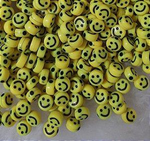 Entremeio Passante SMILE - Carinha Feliz - Amarelo - 7mm - *pacote com 50 unidades*
